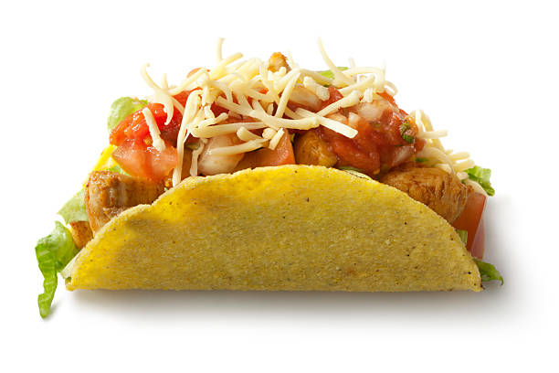 TexMex Food: Chicken Taco Isolated on White Background:スマホ壁紙(壁紙.com)