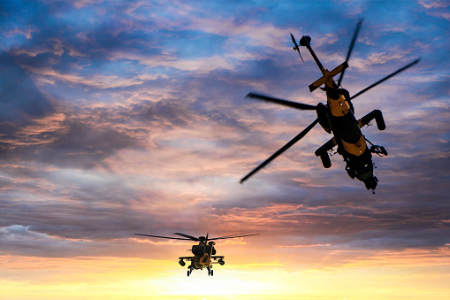 Air Attack「Military gunships flying against dramatic sky at sunset」:スマホ壁紙(14)