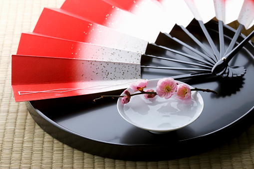 梅の花「Sake and a folding fan on a tray」:スマホ壁紙(11)