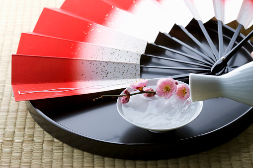 梅の花「Sake and a folding fan on a tray」:スマホ壁紙(6)