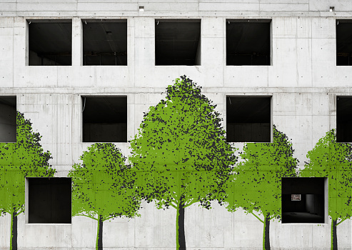 Responsible Business「Trees painted on unfinished concrete building」:スマホ壁紙(12)