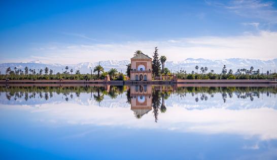 Atlas Mountains「Saadian pavilion, Menara gardens and Atlas in Marrakech, Morocco, Africa」:スマホ壁紙(15)