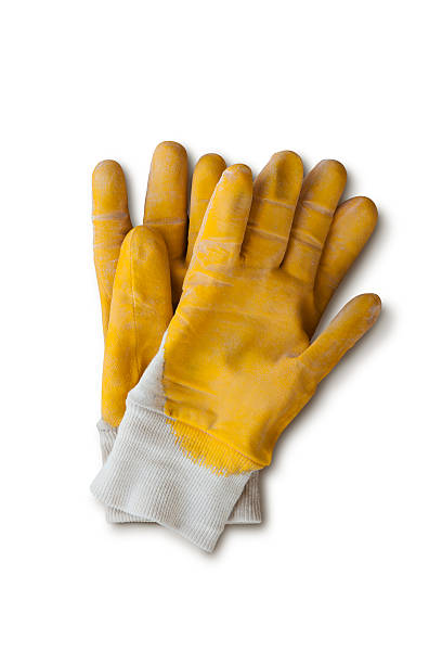 Yellow work gloves with clipping path:スマホ壁紙(壁紙.com)