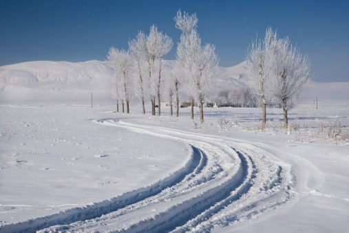 アクダマル島「Road to Muradiye in snow, Van Province, Turkey」:スマホ壁紙(10)