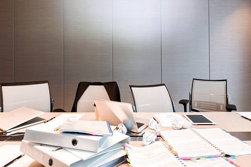 Chaos「Poland, Warsaw, papers, mini tablet, laptops and folders on conference table at hotel」:スマホ壁紙(2)