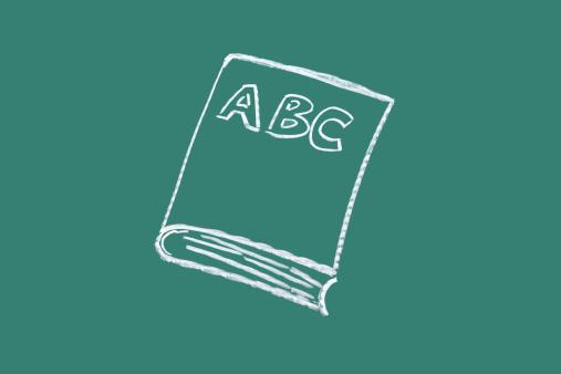 Cartoon「Book drawn on blackboard」:スマホ壁紙(17)