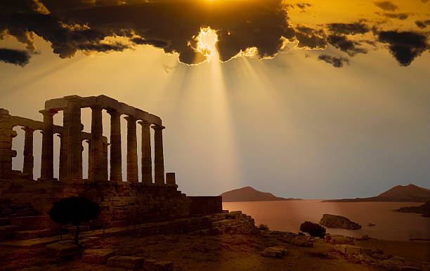 Greece. Cape Sounion. Temple of Poseidon at sunset:スマホ壁紙(壁紙.com)
