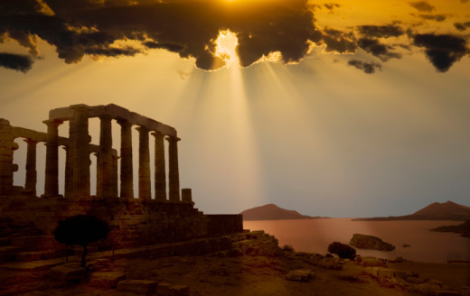 Ancient Civilization「Greece. Cape Sounion. Temple of Poseidon at sunset」:スマホ壁紙(19)