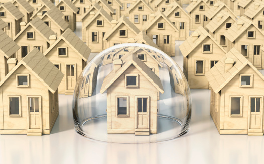 Insurance「Toy wooden miniature houses, one under glass dome」:スマホ壁紙(5)