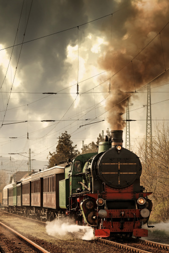 Auto Post Production Filter「old locomotive leaving the railway station」:スマホ壁紙(1)