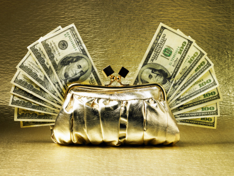 Gold Purse「Gold purse with hundred dollar bills in fans, on gold background」:スマホ壁紙(13)