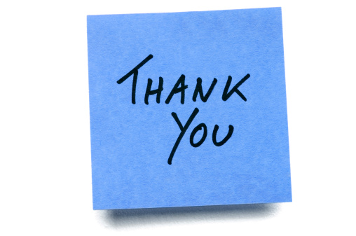 Writing「Blue Thank You post-it note isolated on white」:スマホ壁紙(15)