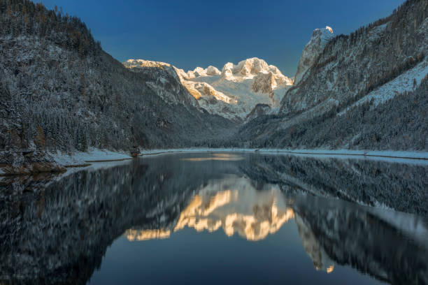 Glacier Dachstein  - Alpenglow in Winter at Lake Gosau, European Alps:スマホ壁紙(壁紙.com)