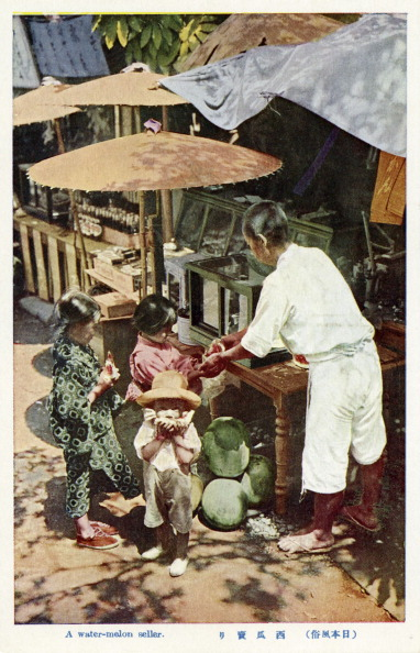メロン「Japanese trader selling watermelons to children」:写真・画像(5)[壁紙.com]