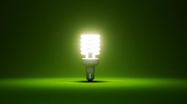 Energy Saver Light Bulb Glowing On Green Background:スマホ壁紙(壁紙.com)