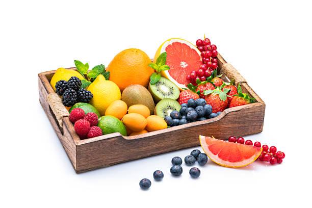 Healthy multicolored fruits in a wooden tray:スマホ壁紙(壁紙.com)