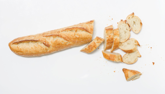 French Culture「Sliced Baguette on White」:スマホ壁紙(18)