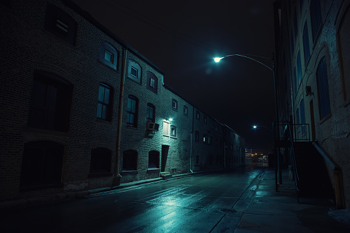 Spooky「Dark urban city alley at night after a rain featuring vintage warehouses.」:スマホ壁紙(2)