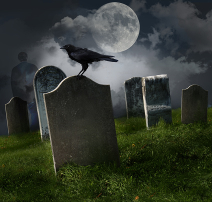 Evil「Cemetery with old gravestones and moon」:スマホ壁紙(2)