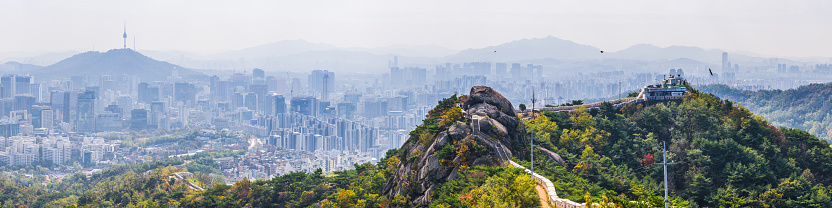 Real Life「Seoul Inwangsan mountain city walls overlooking skyscaper cityscape panorama Korea」:スマホ壁紙(10)