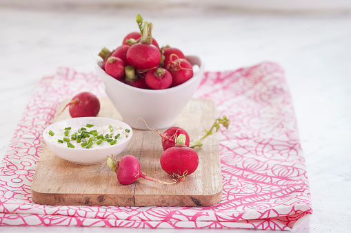 Sour Cream「Bowl of red radishes and bowl of sour cream dip」:スマホ壁紙(15)