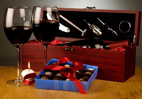 Valentine「チョコレートとワインのキャンドル」:スマホ壁紙(19)