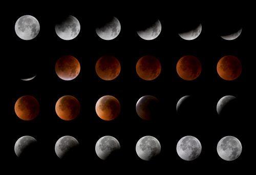 Multiple Exposure「Total lunar eclipse, 24 moon phases, August 28th, 2007」:スマホ壁紙(7)