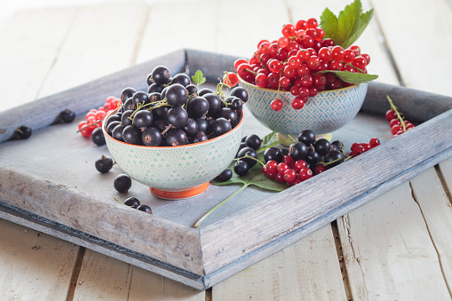 カシス「Two bowls of red and black currants on a tray」:スマホ壁紙(10)