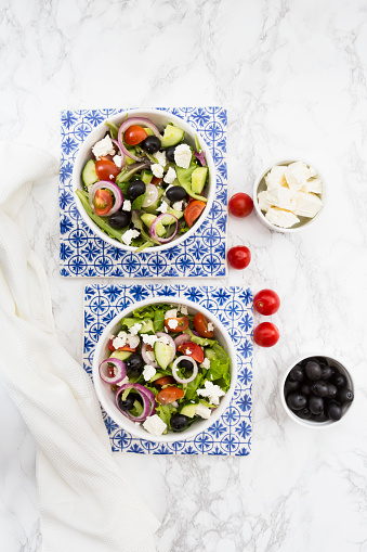 Mediterranean Food「Two bowls of Greek salad」:スマホ壁紙(7)