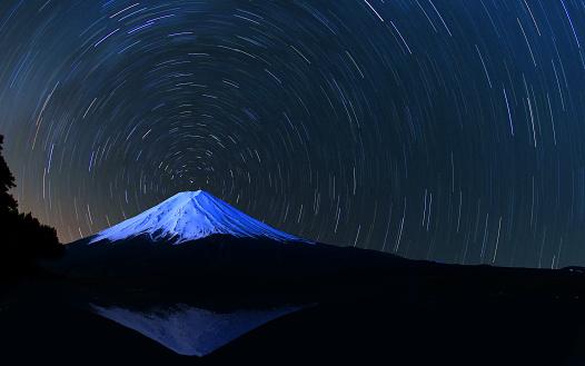 star sky「Mount Fuji and star trails」:スマホ壁紙(9)