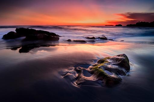 夕焼け 海「空白の」:スマホ壁紙(12)