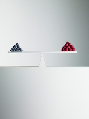Equality「Blueberries and strawberries balanced on opposite ends of seesaw」:スマホ壁紙(15)