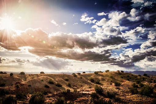 Sandia Mountains「High Desert Sunset with Blue Sky and Fluffy Clouds」:スマホ壁紙(15)