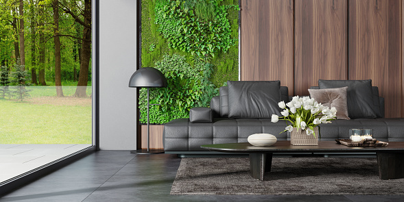 Motel「Modern country villa living room interior with big portals and windows. Green moss and plants wall next to big window.Nature forest background.」:スマホ壁紙(9)