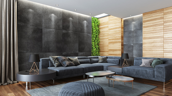 Parquet Floor「Modern country style luxury house living room with plant vertical wall」:スマホ壁紙(19)