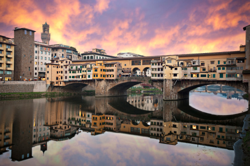 Florence - Italy「Sunset in Ponte Vecchio」:スマホ壁紙(5)