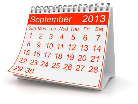 カレンダー「2013 年 9 月」:スマホ壁紙(9)