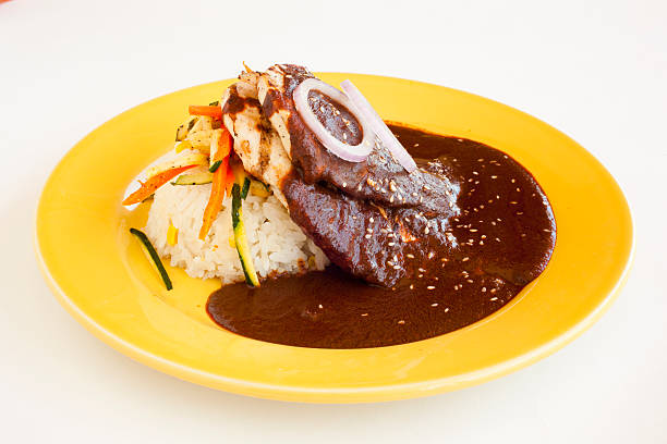 Yellow plate with grilled chicken & rice with mole:スマホ壁紙(壁紙.com)
