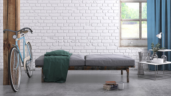 White Brick Wall「Apartment interior blank wall template」:スマホ壁紙(6)