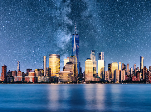Milky Way「night new york manhattan downtown skyline milky way reflection」:スマホ壁紙(7)