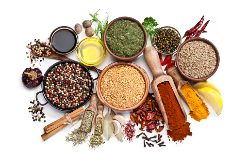 Indian Food「Spices and herbs isolated on white background」:スマホ壁紙(2)
