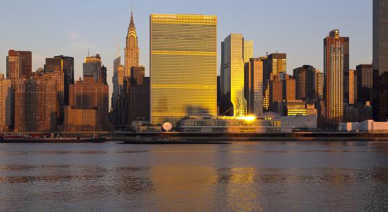 United Nations Building「Midtown Manhattan skyline at sunrise」:スマホ壁紙(18)