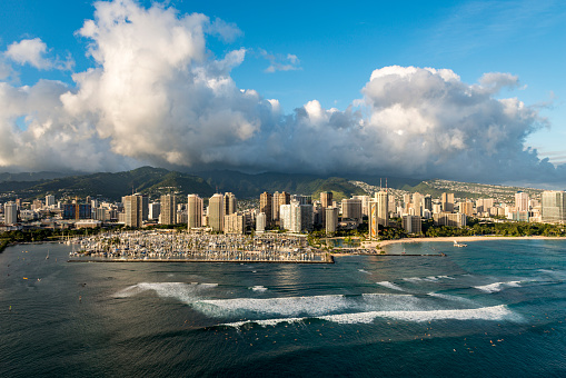 United States Minor Outlying Islands「Aerial of Honolulu waterfront」:スマホ壁紙(12)