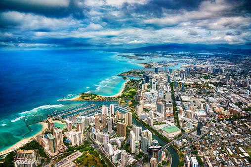 オアフ島「ハワイのホノルルの航空」:スマホ壁紙(10)