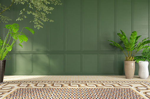 Green Color「Empty Classic Green Wall with Plants」:スマホ壁紙(12)