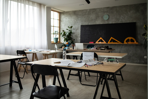 Event「Empty classroom with social distancing information on chairs」:スマホ壁紙(18)