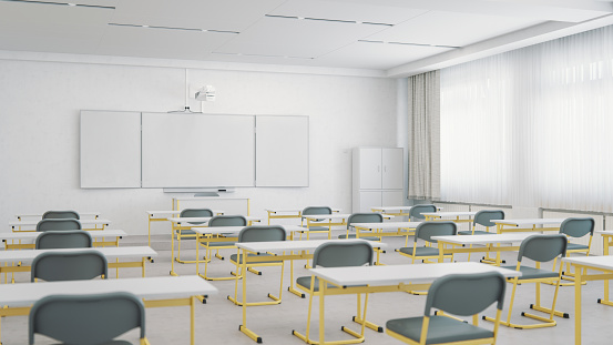 Meeting「Empty Classroom Organized For Social Distancing」:スマホ壁紙(16)