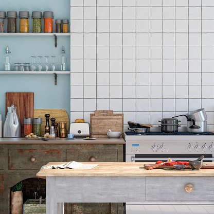 Kitchen Counter「Empty classic kitchen」:スマホ壁紙(2)