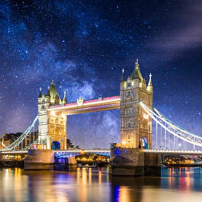 星空「タワー ブリッジ黄昏イングランド天の川でロンドン ロンドレス」:スマホ壁紙(19)