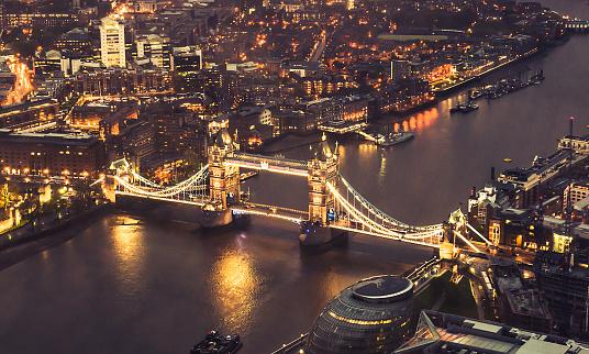 London Bridge - England「tower bridge aerial view at night」:スマホ壁紙(3)